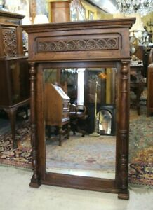 French-Antique-Carved-Oak-Brittany-Beveled-Mirror