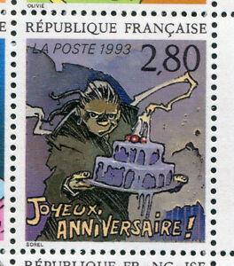 FRANCE, 1993, timbre 2839, JOYEUX ANNIVERSAIRE SOREL, BD, PLAISIR ECRIRE neuf**