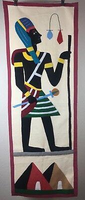 Egyptian Wall Hanging Tapestry Vintage Handmade Art
