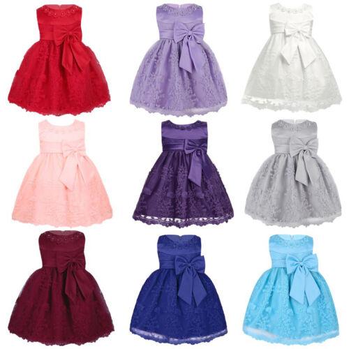 Blumenmädchenkleid Baby Mädchen Prinzessin Hochzeits Kleid Taufkleid Partykleid