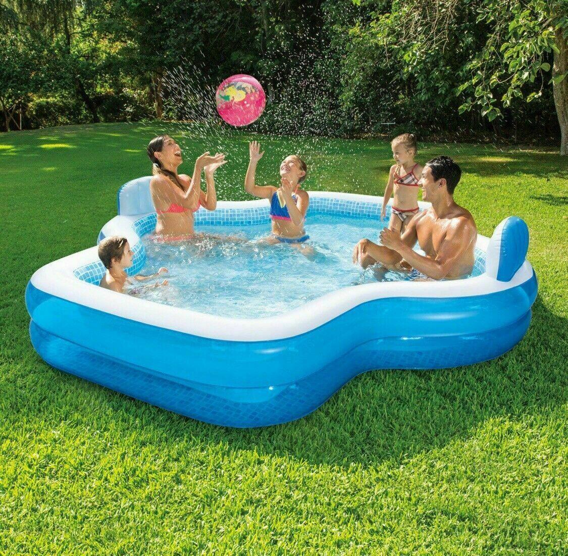"Member's Mark Mosaic INFLATABLE Family Pool 10 Feet Long 120"" x 110"" x 18"" Seat"