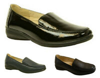 Womens Ladies Flat Wedge Leather Lining Wide Fit Comfort Black Work Shoes Size
