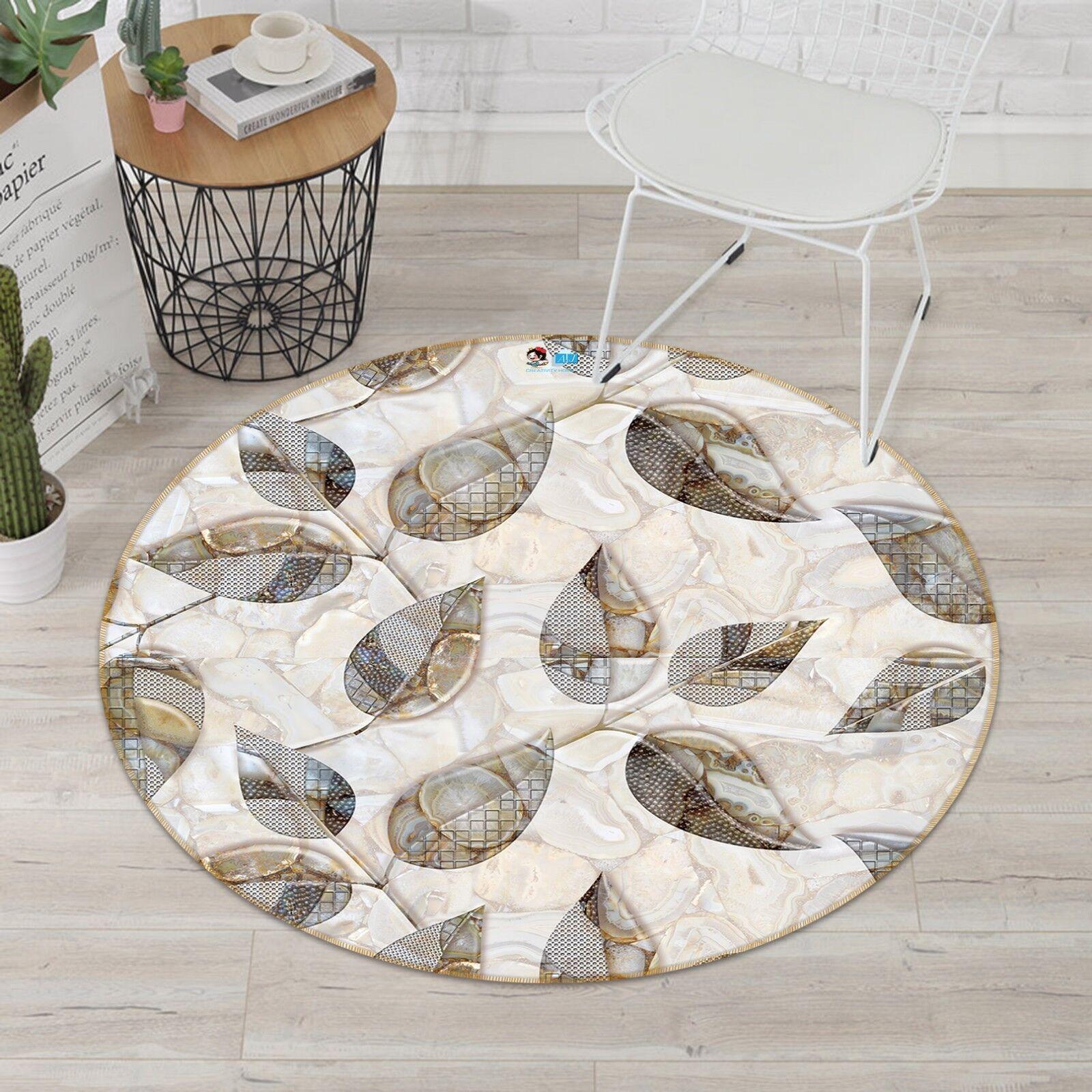 3D Leaves Marble 7 Non Slip Rug Rug Rug Room Mat Round Quality Elegant Photo Carpet UK c94ea9