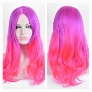 Details About Pastel Purple Red Ombre Pink Wig Long Fire Dyed Styled Hair Women S Wigs