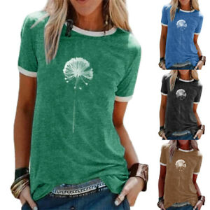 Womens-Short-Sleeve-Ladies-Tee-Basic-Dandelion-T-Shirt-Casual-Loose-Blouse-Tops
