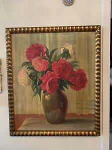 Oil-Painting-On-Canvas-Antique-19-Century-Still-Life-Roses-Flower-Vase-Signed