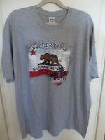 Mens T-shirt 2xlarge Gray Patriotic Property Of California Brown Bear