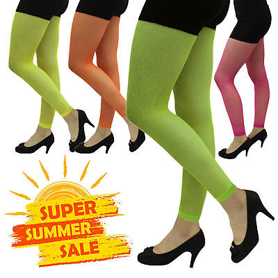 LADIES NEON FOOTLESS TIGHTS 1980/'S FANCY DRESS PARTY COSTUME HEN NIGHT