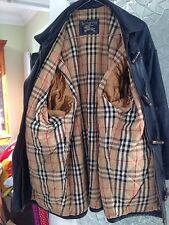 BURBERRY Authentic VINTAGE 3/4 Giacca in Pelle Nera Pura/Cappotto fodera trapuntata