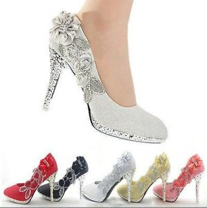 Womens-Glitter-Gorgeous-New-Wedding-Evening-Party-Crystal-High-Heels-Court-Shoes