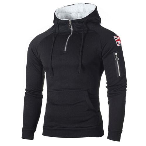 Men Winter Casual Hoodie Warm Fleece Sweatshirt Hooded Coat Sweater Pullover Top