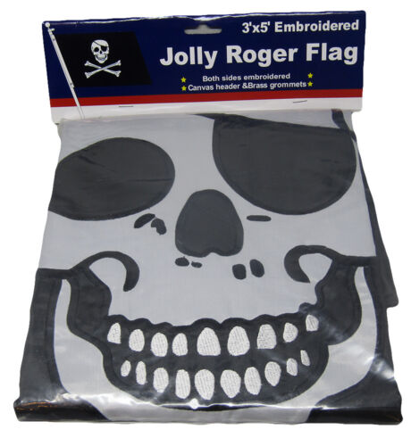 Clips RAM 3x5 Embroidered Pirate With Patch Double Sided Nylon Flag 3/'x5/'