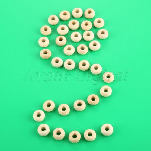 50pcs 8*14mm Flat Round Wooden Beads Loose Spacer Big Hole DIY Jewelry Findings