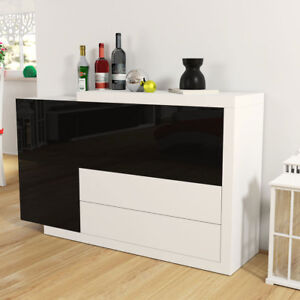 kommode oslo 1 sideboard highboard wohnzimmer hochglanz wei schwarz modern stil ebay. Black Bedroom Furniture Sets. Home Design Ideas