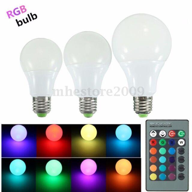 E27 5W/10W/20W RGB 16Color Changing LED Light Lamp Bulb Remote Control 110V-220V