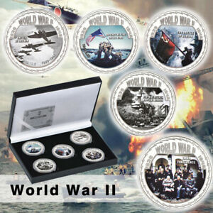 WR-5pcs-World-War-ii-Silver-Commemorative-Coin-Anniversary-Souvenir-W-Box
