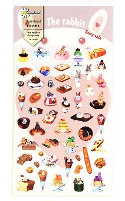 1 sheet Cute Bunny Rabbit Cake Dessert Fairy Tale Planner Diary Sticker