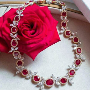 18Ct-Oval-Cut-Ruby-Simulant-Diamond-Halo-Necklace-Pendant-Silver-White-Gold-Fnsh