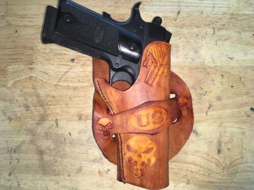 Handmade Leather Gun Holster 1911 Punisher Custom Carving