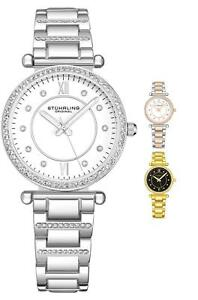 Stuhrling 3906 Women's Fashion Crystal Studded Japan Quartz Steel Bracelet Watch