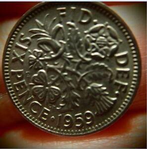 UK 3 Coin Lot 1966 England Sixpence 1//2 Crown 2 Shillings
