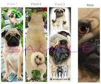 3 Lot- Pug Bookmarks Tan Fawn Dog Nothing Butt - Book Card Art Figurine Ornament