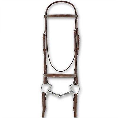 Ovation Avalon Italian Leather Snaffle Pony Bridles With Reins - Plain Raised