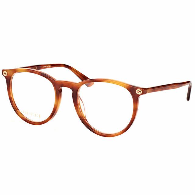 66cc5095f New Authentic Gucci GG0027O 003 Light Havana Plastic Round Eyeglasses 50mm