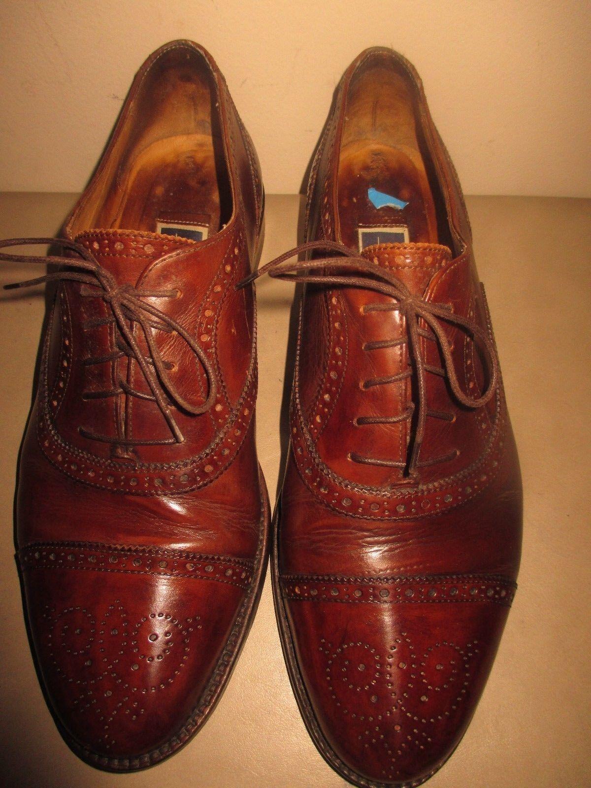 Men's COLE HAAN BRAGANO Marrón Cuero captoe Oxfords tamaño 9D Hecho en Italia