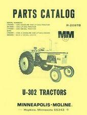 Minneapolis Moline U 302 U302 Parts Manual Catalog 2097