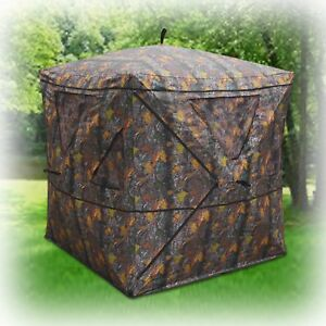 2 Person Portable Pop Up Hunting Ground Blind Deer Archery Bowhunting Tent Camo