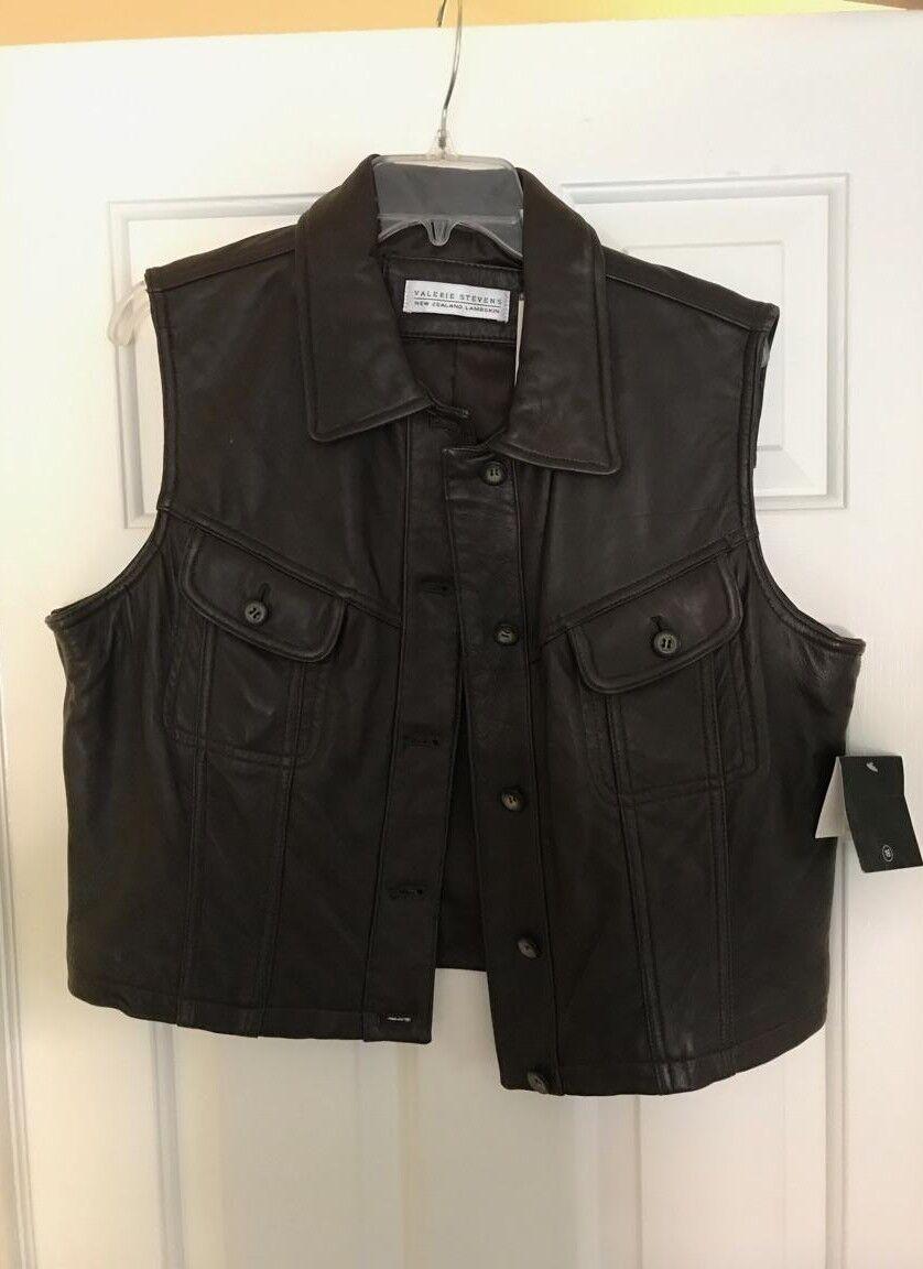 Valerie Stevens Brown Lamb Skin Vest new w tags size 16