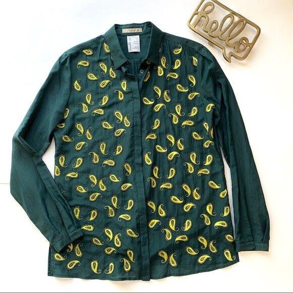 damen ETRO paisley beaded & embroiderot Grün button up blouse, Größe 42, Medium