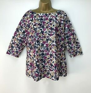 Floral-Top-UK-Size-16-Raspberry-Pink-Navy-Womens-Casual-Summer-Holiday