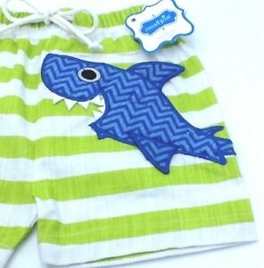 81bac654f5 Mud Pie Baby Shark Swim Trunks Bathing Suit Boys Infant Size 0-6 ...