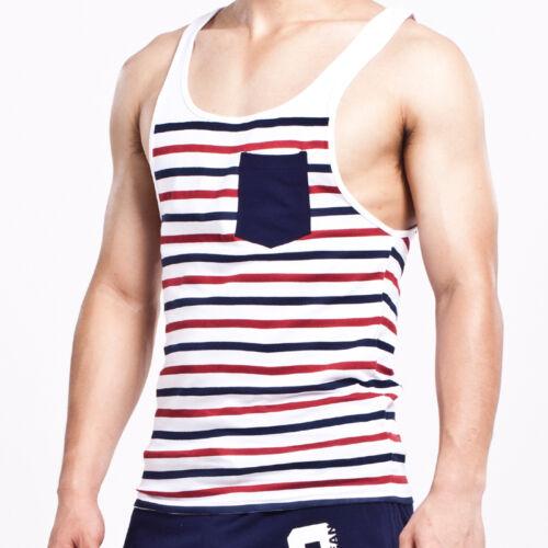 SEOBEAN homme rayé à Chaud Sans Manches Gym Débardeur Tank Top Tee T-shirts