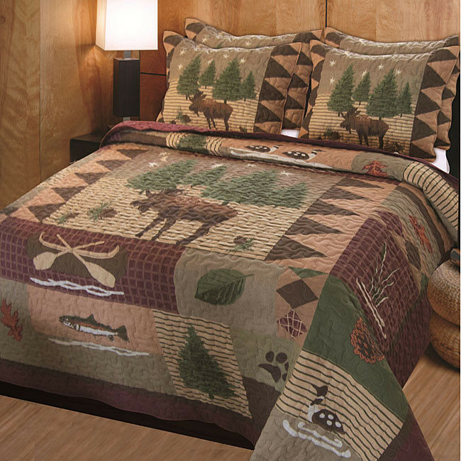COZY TREE PINE LODGE SNOW FISH MOOSE BEAR PLAID HUNT LOG CABIN RUSTIC QUILT SET