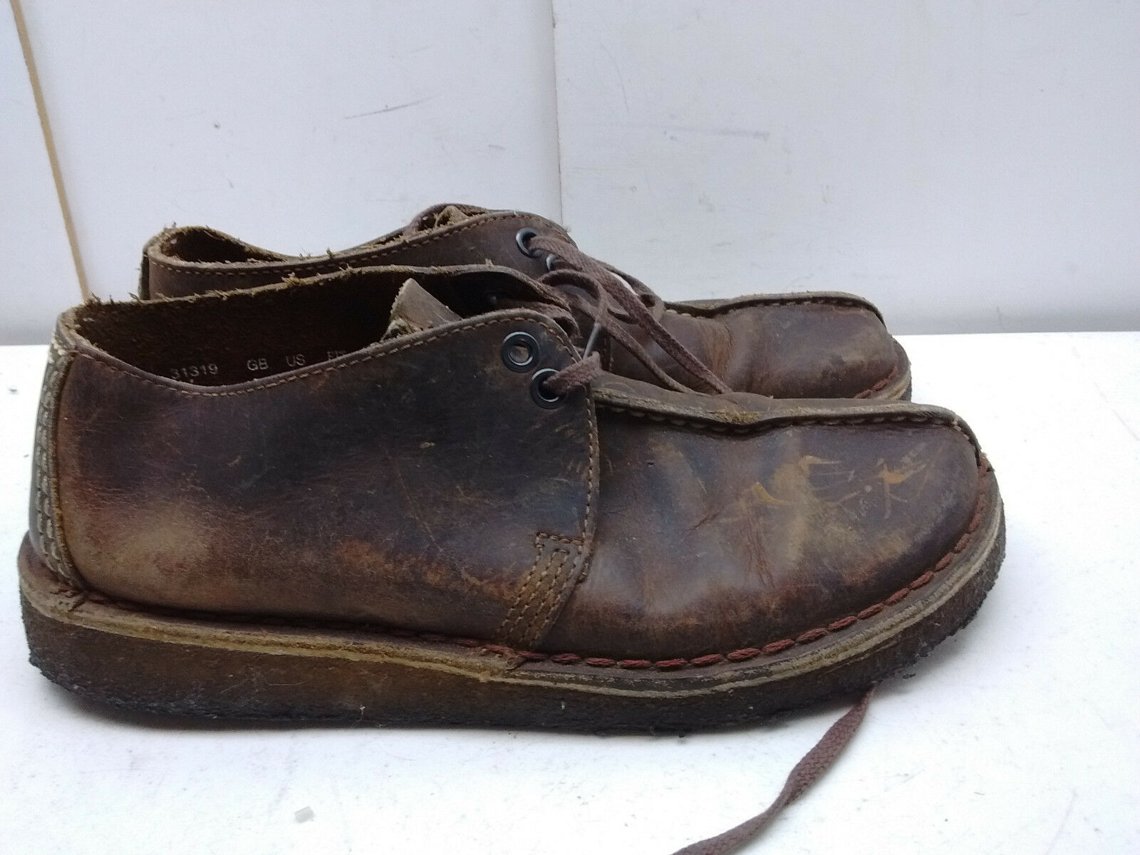 Clarks Originals Brown Oiled Leather Crepe Desert Boot Lace Hiking Men shoes 7.5M