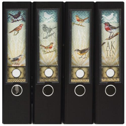 Design Ordner-Rückenschilder zum Einstecken breit IC-025 Motiv Vintage Birds