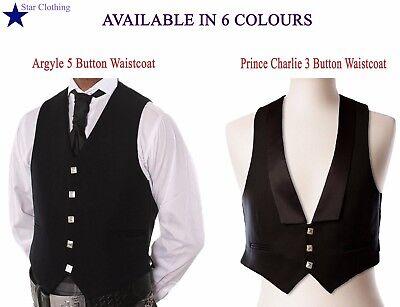 Wedding & Formal Occasion Handmade Scottish Argyle & Prince Charlie Kilt Waistcoat/vest In 6 Colours 50% OFF