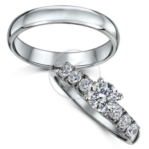 /'/'Titanium Bridal Set/'/' Engagement Ring /& 4mm Wedding Ring Band Set