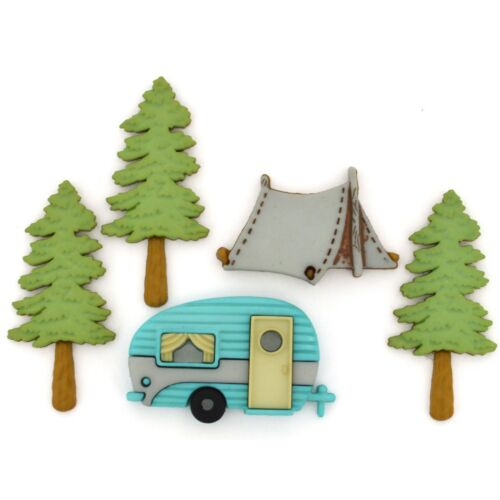 Camping Jesse James Buttons ~ Dress It Up Crafts Sew HITTIN THE TRAIL 10420