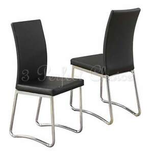 modern 2 pc black faux leather upholstered dining side chair high back metal leg ebay. Black Bedroom Furniture Sets. Home Design Ideas