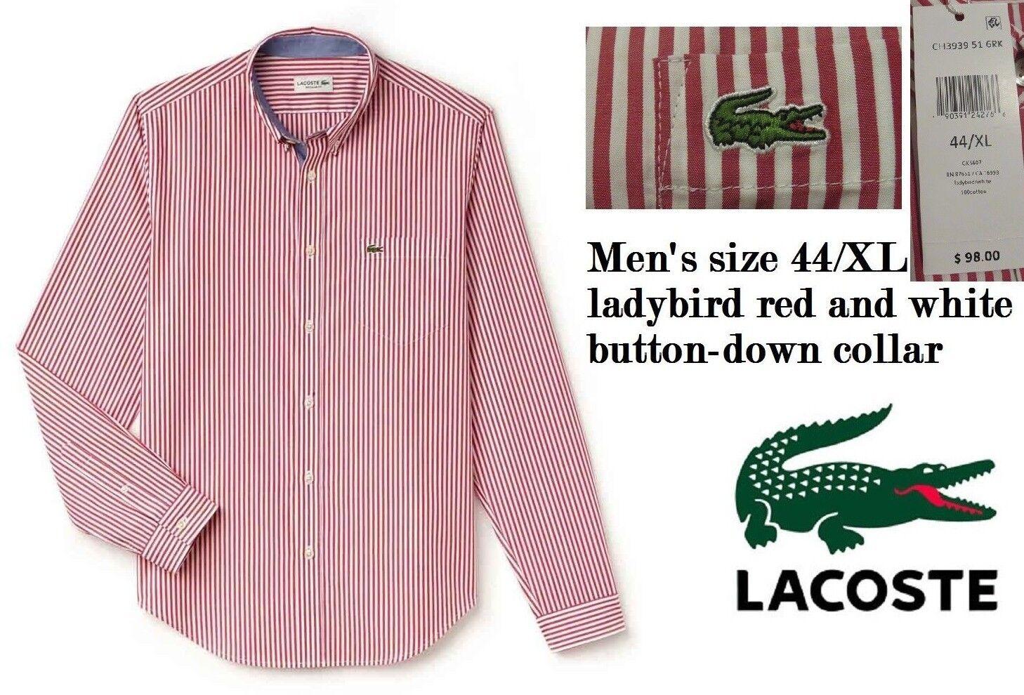 Lacoste  Herren X-Large Long-Sleeve Bengal Stripe Regular Fit Woven Shirt ROT/Weiß