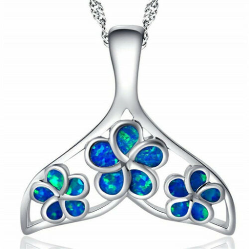 Fashion Woman 925 Silver Mermaid White Fire Opal Charm Pendant Necklace Chain !!