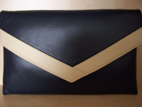 fully lined OVER SIZED NAVY BLUE AND CREAM faux leather envelope clutch bag
