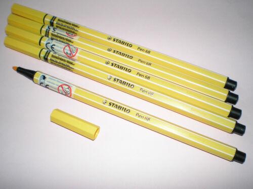 5x Stabilo PEN 68 gelb Fasermaler Strichstärke 1,0 mm 68//44 Filzstift NEU