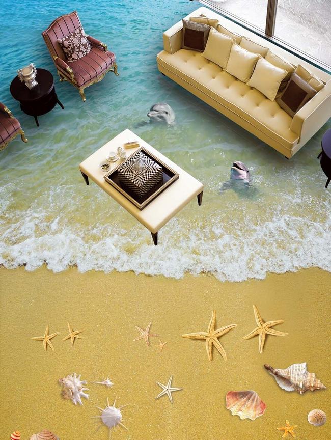 3D Golden Beach 543 Floor WandPapier Murals Wand Drucken 5D AJ WandPapier UK Lemon