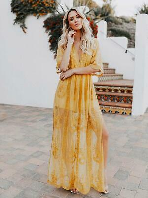 Elegante abito vestito morbido lungo boho bohemian giallo kaftano  5067