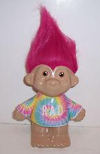 "TROLLS ""RAD"" CERAMIC Piggy BANK Money Coin Holder Rainbow Tie-Dye Pink Hair NEW!"